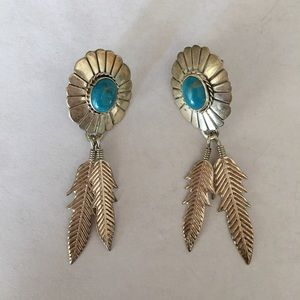 Jewelry - Old Pawn 925 Silver Turquoise Feather Earrings